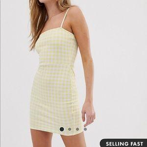 Square neck gingham dress
